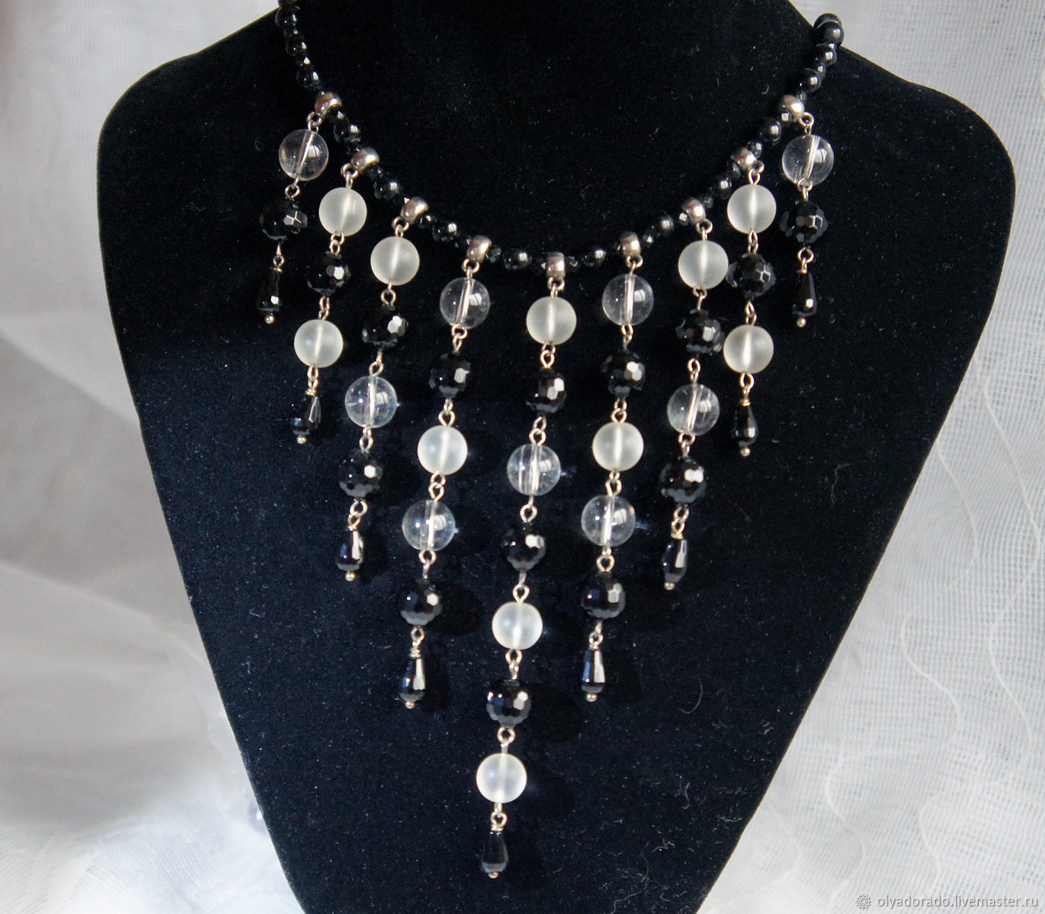 made of black onyx and rock crystal, Necklace, Moscow,  Фото №1