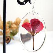 Украшения handmade. Livemaster - original item Earrings Red Geranium Flowers Rustic Boho Resin Jewelry 2. Handmade.