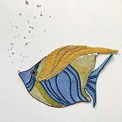 Аппликации ручной работы. Ярмарка Мастеров - ручная работа Аппликация Люневильская вышивка Рыбка 40 долларов. Handmade.