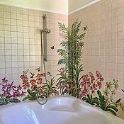 Дизайн и реклама handmade. Livemaster - original item The painted tile Mural in the bathroom Orchids and hummingbirds. Handmade.