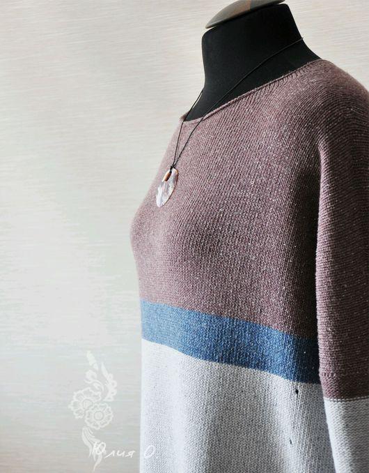 Платья ручной работы. Ярмарка Мастеров - ручная работа. Купить Платье свободного силуэта / оверсайз вязаное твид серый синий бордовый. Handmade.