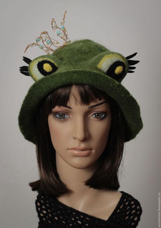 """Шляпы ручной работы. Ярмарка Мастеров - ручная работа. Купить Шляпка """"Царевна Лягушка"""". Handmade. Зеленый, подарок женщине, шапка"""