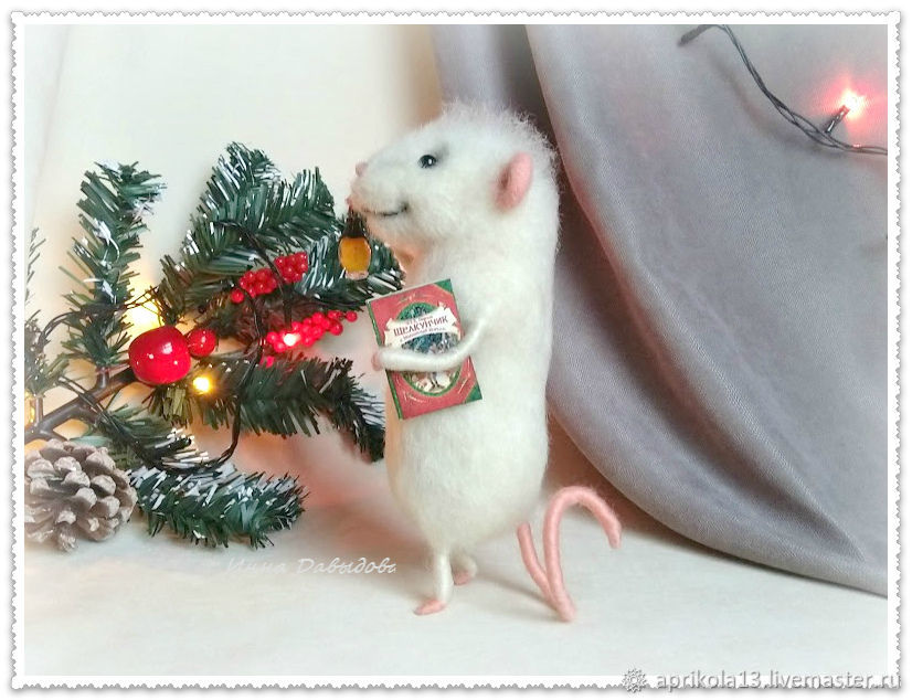 felt toy: Year of the white Rat Felted mouse, Felted Toy, Maloyaroslavets,  Фото №1