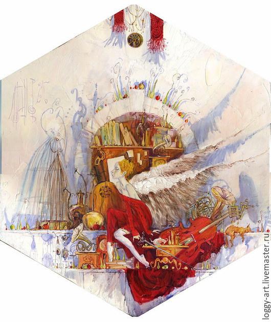 """Символизм ручной работы. Ярмарка Мастеров - ручная работа. Купить """"Предчувствие....   """". Handmade. Ярко-красный, картина в спальню"""
