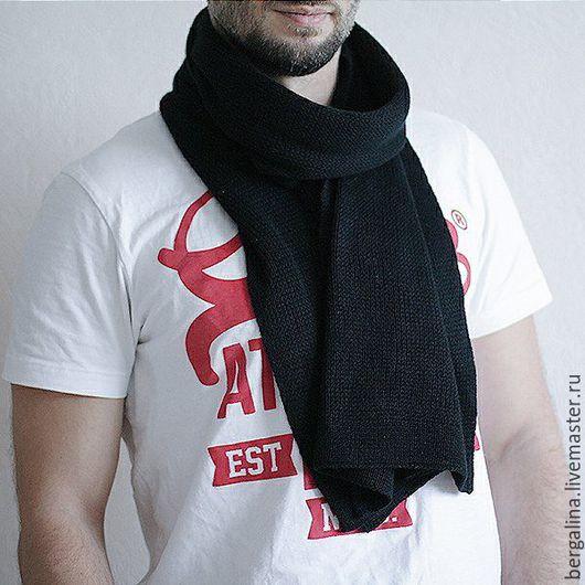 Черный мужской шарф из кашемира и шелка. Теплый и не царапает кожу!