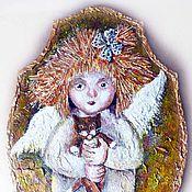 Картины и панно ручной работы. Ярмарка Мастеров - ручная работа Ангелочек с котиком  Картина для интерьера. Handmade.
