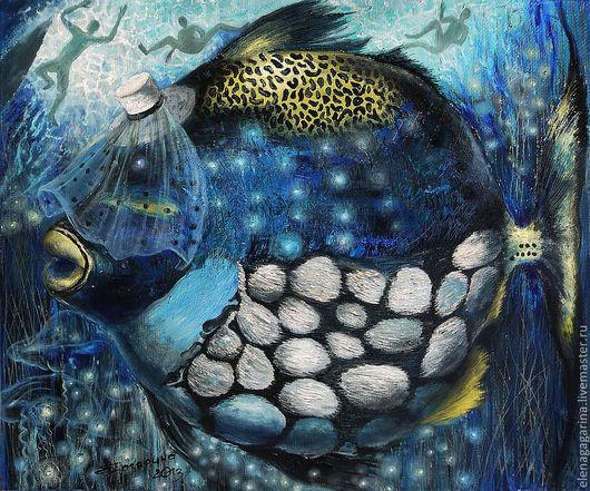 """Фантазийные сюжеты ручной работы. Ярмарка Мастеров - ручная работа. Купить Картина рыбы маслом """"Вуаля"""". Handmade. Тёмно-синий"""