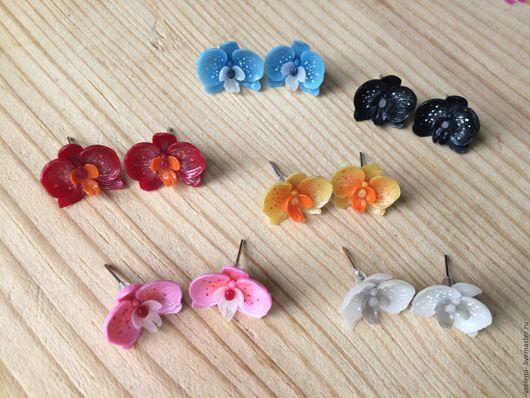 """Серьги ручной работы. Ярмарка Мастеров - ручная работа. Купить Серьги """"Нежные орхидейки"""". Handmade. Комбинированный, серьги гвоздики"""