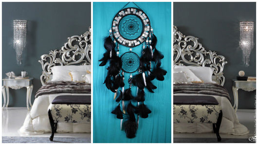 Ловцы снов ручной работы. Ярмарка Мастеров - ручная работа. Купить Black Dreamcatcher silver mosaic Dream Catcher Large Dreamcatcher. Handmade.