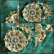 Украшения ручной работы. Ярмарка Мастеров - ручная работа Канзаши Kanzashi Зажим для волос с цветком из ткани. Handmade.