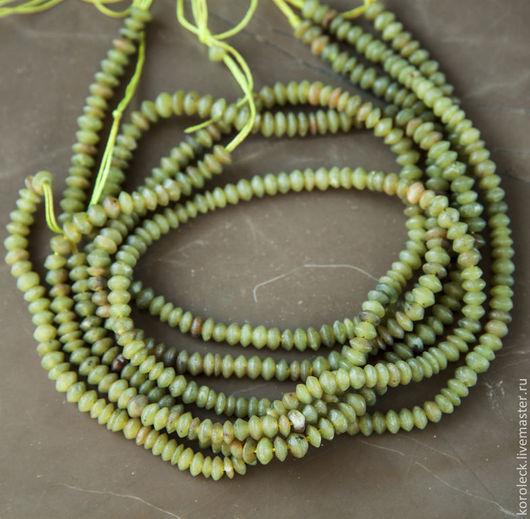 Для украшений ручной работы. Ярмарка Мастеров - ручная работа. Купить Нефрит афганский рондели цвета мха, нить 40 см. Handmade.