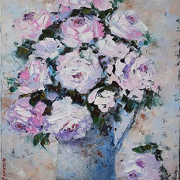 """Картины и панно ручной работы. Ярмарка Мастеров - ручная работа """"Белые розы"""" картина маслом. Handmade."""