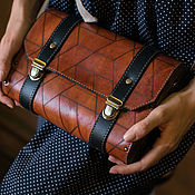 Сумки и аксессуары handmade. Livemaster - original item Leather bag With geometria wood. Handmade.