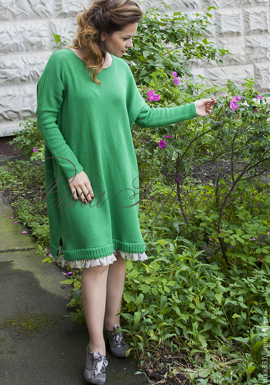 Платья ручной работы. Ярмарка Мастеров - ручная работа. Купить Платье оверсайз.. Handmade. Зеленый, вязаное платье, хлопок