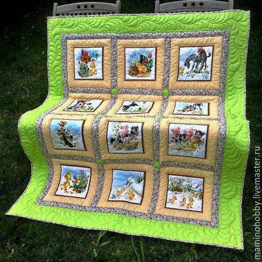 Детская ручной работы. Ярмарка Мастеров - ручная работа. Купить Одеяло лоскутное в подарок ребенку Утенок зеленое и желтое. Handmade.