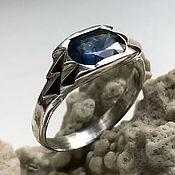 Украшения handmade. Livemaster - original item Men`s silver ring with Blue Sapphire (1,97 ct)handmade. Handmade.