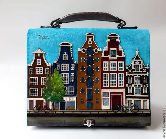 """Женские сумки ручной работы. Ярмарка Мастеров - ручная работа. Купить Кожаная сумка """"Амстердам"""". Handmade. Голубой, домики, кожа"""