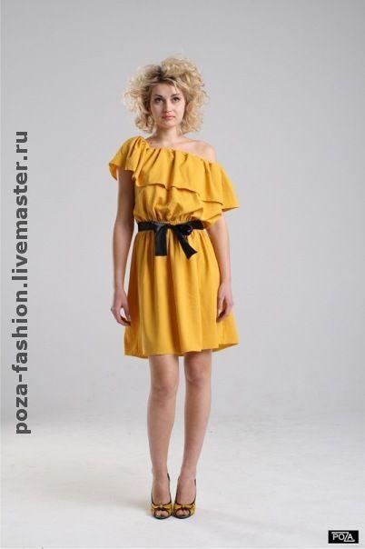 Платья ручной работы. Ярмарка Мастеров - ручная работа. Купить Платье на одно плечо. Handmade. Сарафан, желтый, однотонный, хлопок