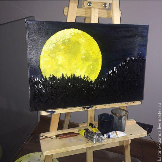 Пейзаж ручной работы. Ярмарка Мастеров - ручная работа. Купить Полнолуние.. Handmade. Желтый, черный цвет, лес, ночной лес