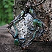 """Украшения ручной работы. Ярмарка Мастеров - ручная работа Кулон """"Время дождя"""" на кожаном шнуре. Handmade."""
