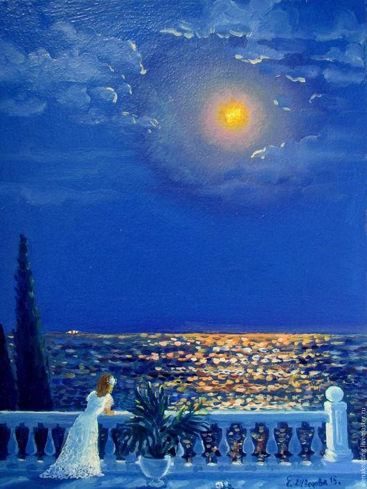 Е Шведова. Картина маслом ` Лунная соната.` ( художественный картон, масленые краски) 30 х 40 . 2015 г.