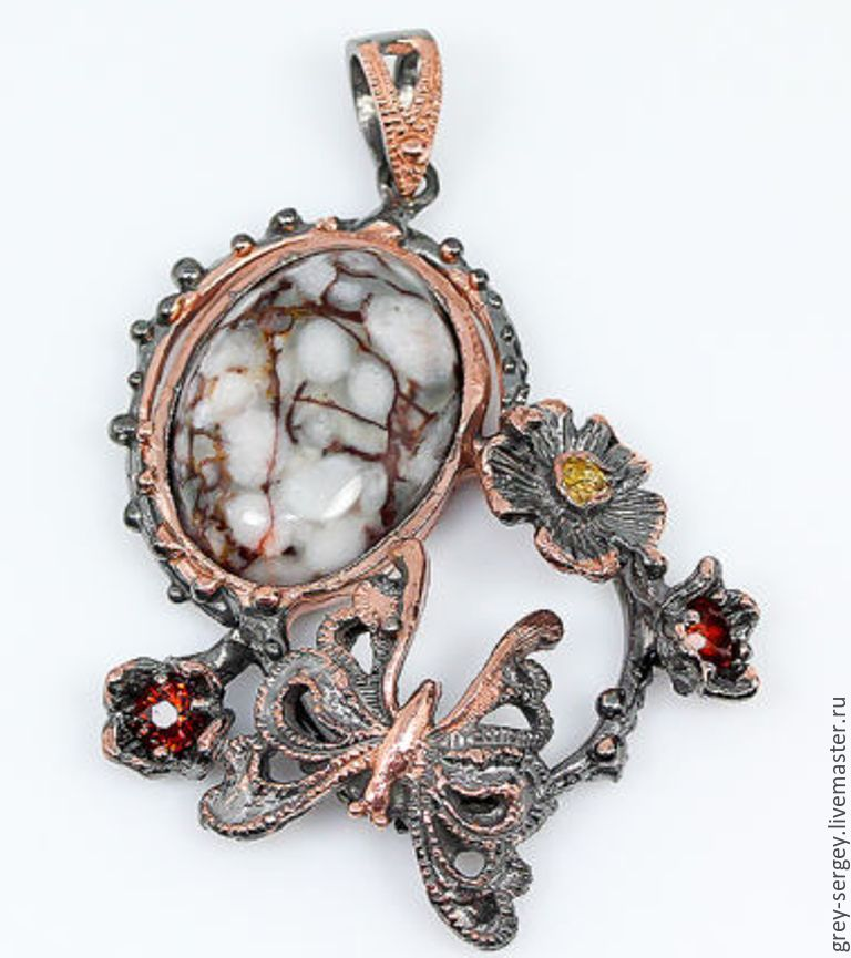 Silver pendant in black gold with coral, Beads1, ,  Фото №1