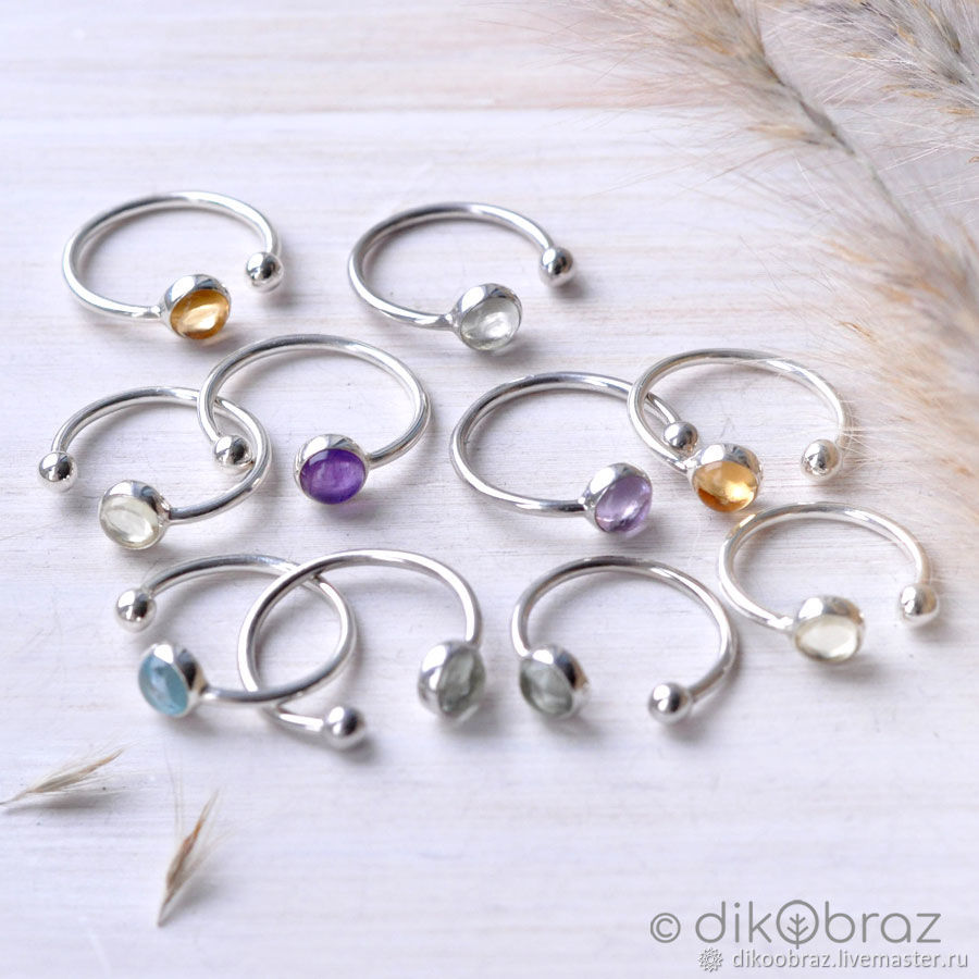 Ring silver 'Herbs' with natural stones, Rings, Moscow,  Фото №1