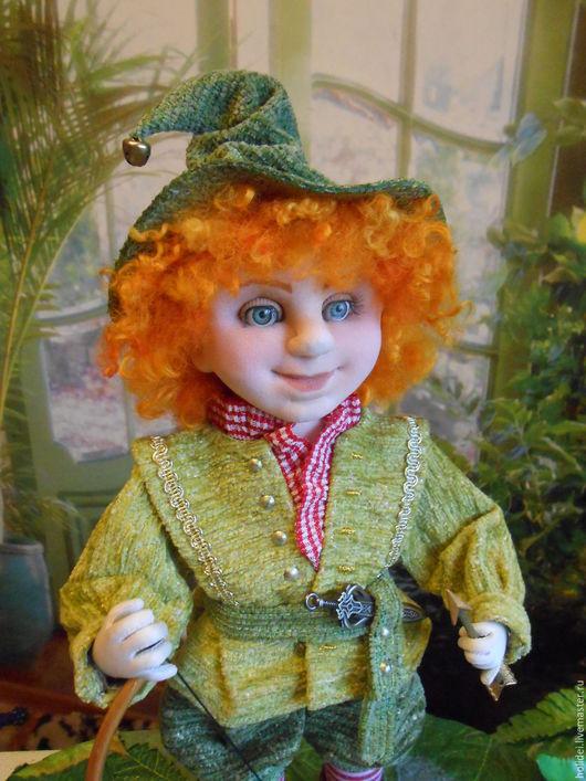 Коллекционные куклы ручной работы. Ярмарка Мастеров - ручная работа. Купить ГНОМИК  текстильная кукла. Handmade. Зеленый, сказочный персонаж