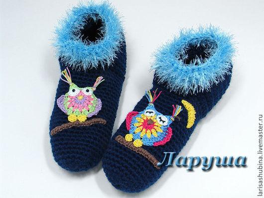 """Детская обувь ручной работы. Ярмарка Мастеров - ручная работа. Купить Тапочки вязаные """"Совушки"""".. Handmade. Тёмно-синий"""