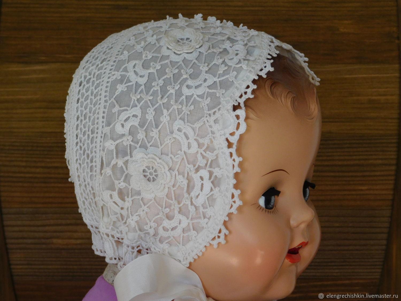 Боннет в технике ирландского кружева для кукол, Одежда для кукол, Лениградская,  Фото №1
