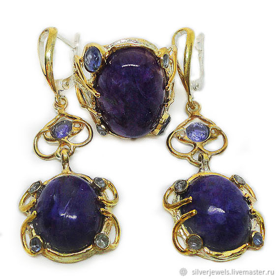 Set of 925 sterling silver with natural charoites cabochons and tanzanites, Jewelry Sets, Moscow,  Фото №1