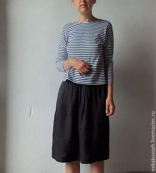 """Юбки ручной работы. Ярмарка Мастеров - ручная работа. Купить Юбка """"кэжл"""" льняная. Handmade. Черный, юбка миди"""