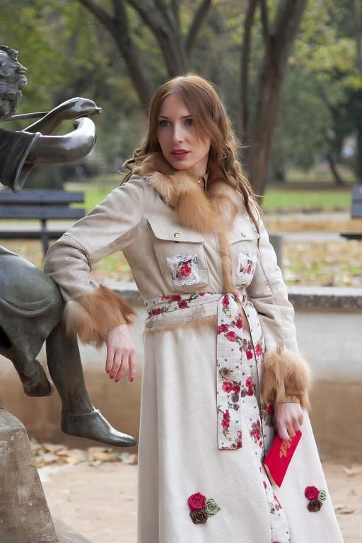 Верхняя одежда ручной работы. Ярмарка Мастеров - ручная работа. Купить Пальто с воротником из лисы «Французский поцелуй» с Жаком». Handmade.