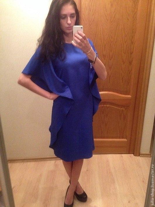 Платья ручной работы. Ярмарка Мастеров - ручная работа. Купить Коктейльное кобальтовое платье. Handmade. Синий, свободное платье