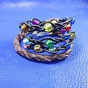 Украшения handmade. Livemaster - original item Bracelet wrapped leather Fireflies. Handmade.