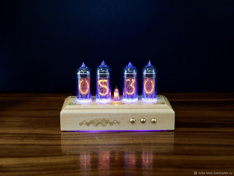 """Стимпанк ручной работы. Ярмарка Мастеров - ручная работа. Купить Настольные ламповые часы на индикаторах ИН-14 """"SteamPunk"""" (клен). Handmade."""