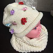 Работы для детей, ручной работы. Ярмарка Мастеров - ручная работа Комплектик из шапочки и снуда для девочки. Handmade.
