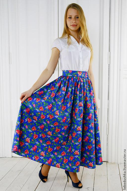 Юбки ручной работы. Ярмарка Мастеров - ручная работа. Купить Длинная юбка «Дикая роза». Handmade. Разноцветный, хлопковая юбка