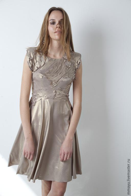 Платья ручной работы. Ярмарка Мастеров - ручная работа. Купить Платье золотое. Handmade. Бежевый, короткое платье