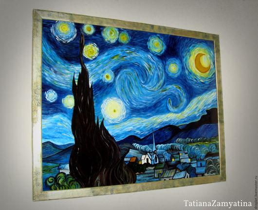 """Репродукции ручной работы. Ярмарка Мастеров - ручная работа. Купить -20 %Картина по мотивам В. Ван Гога """"Звездная ночь"""". Handmade."""