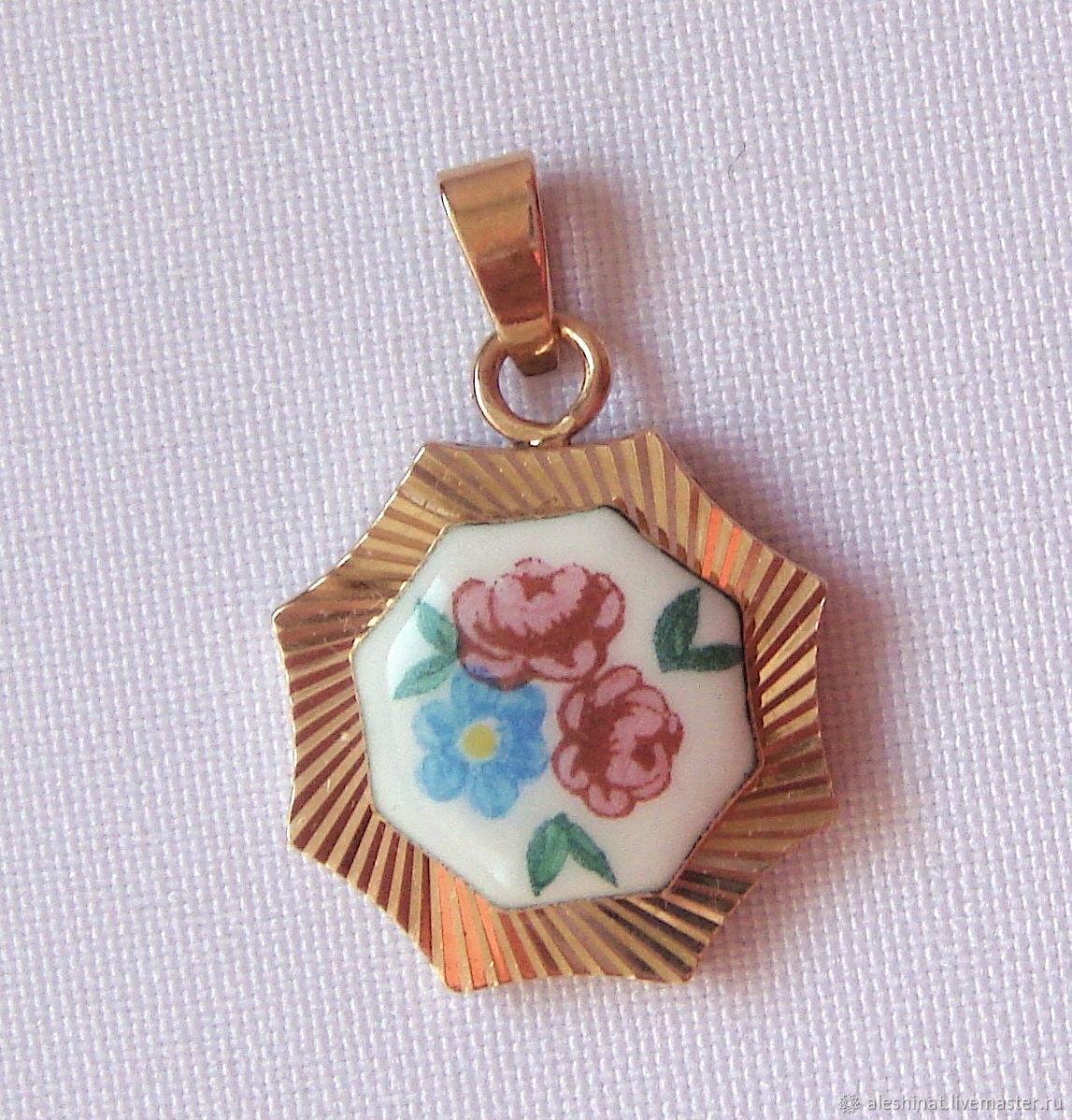 Gold Pendant Enamel Gold 583 weight of 4,01 grams, vintage USSR, Vintage pendants, Saratov,  Фото №1