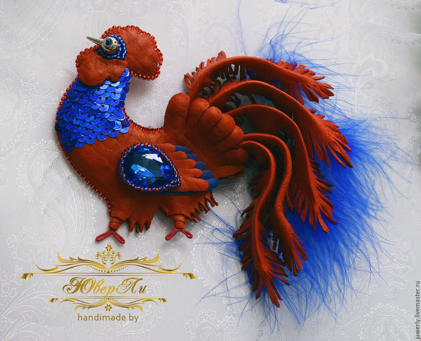 Rooster - a symbol of 2017, the brooch, the 'Red cock', Brooches, Minsk, Фото №1