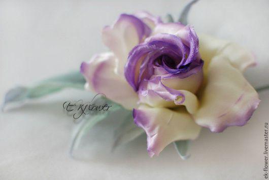 """Цветы ручной работы. Ярмарка Мастеров - ручная работа. Купить Цветы из шелка. Цветок-брошь Роза """"Виолетт"""". Handmade. Роза"""