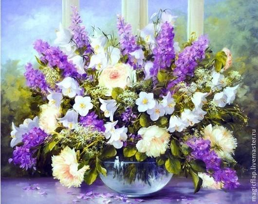 Вышивка ручной работы. Ярмарка Мастеров - ручная работа. Купить Алмазная вышивка Летние цветы. Красивая картина в гостиную, в спальню. Handmade.