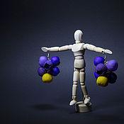 """Украшения ручной работы. Ярмарка Мастеров - ручная работа """"Желто-фиолетовые бутоны"""" серьги. Handmade."""