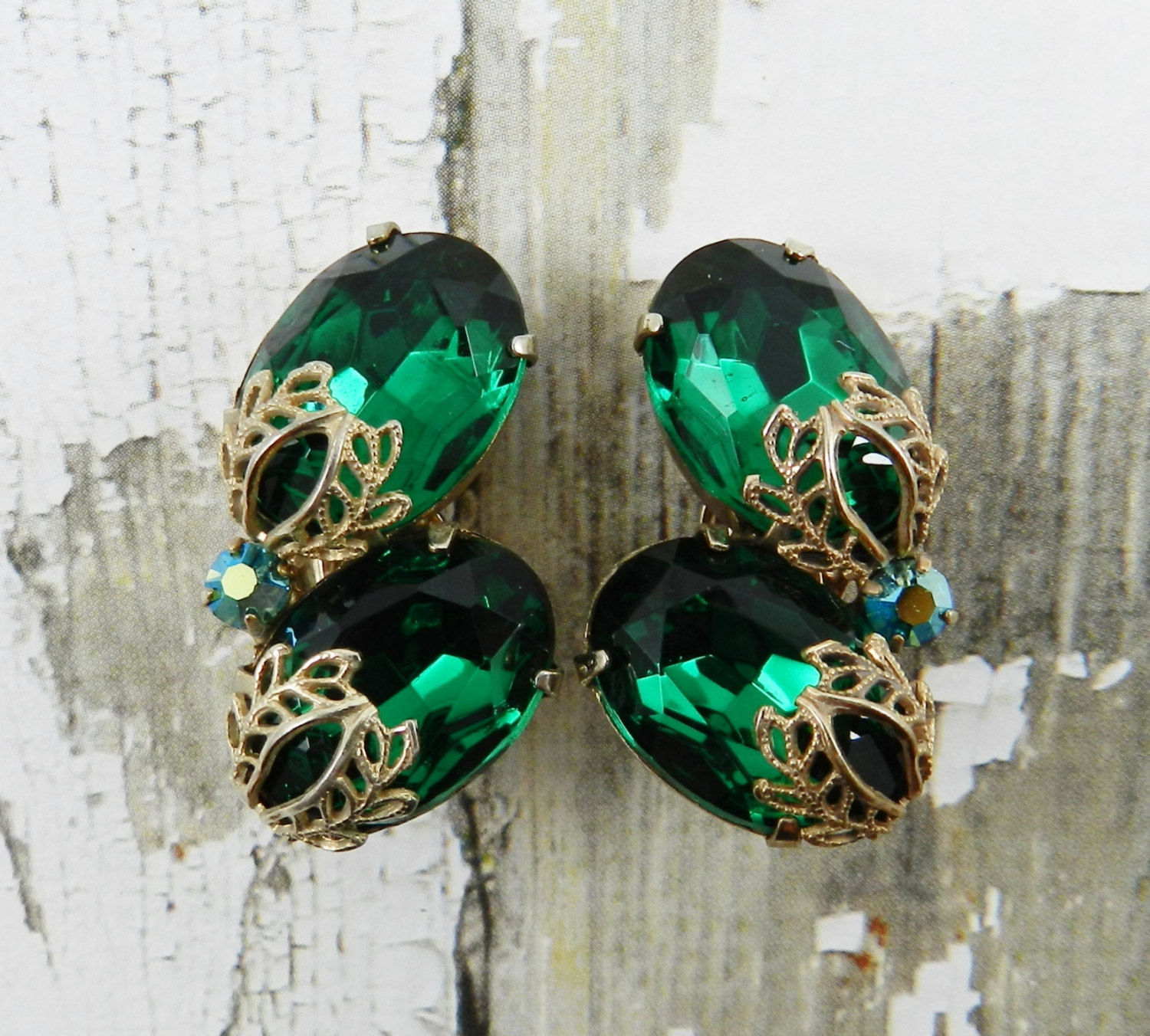 Gorgeous Vintage Rhinestone Earrings Emerald Green, Vintage earrings, Sochi,  Фото №1