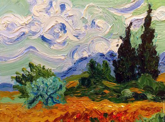 Пейзаж ручной работы. Ярмарка Мастеров - ручная работа. Купить Картина маслом Пшеничное поле с кипарисом по мотивам В. Ван Гога. Handmade.