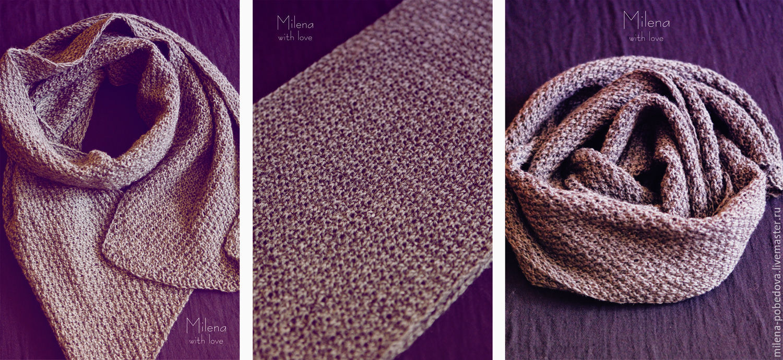 Knitted male scarf Gray midnight, Headwear Sets, Minsk,  Фото №1