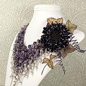 Украшения handmade. Livemaster - original item Amethyst - Pearl Parfait. Necklace, earrings, brooch flower. Handmade.