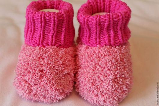 Для новорожденных, ручной работы. Ярмарка Мастеров - ручная работа. Купить Пинетки вязаные для новорожденных. Handmade. Розовый, комбинированный, микрополиэстер
